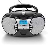 KARCHER RR 5025-B tragbares CD-Radio I CD-Player mit Netz-und Batteriebetrieb I UKW-Radio mit AUX-Anschluss & Kopfhöreranschluss I schwarz