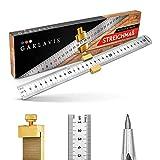 Garlavie Streichmaß Metall mit Reißnadel - Anschlaglineal 300mm aus Edelstahl - Anreißlineal mit Anreißnadel aus Wolframstahl - Schreiner Werkzeug für Hobby und Profi