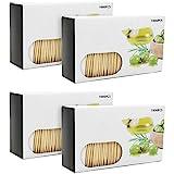 com-four® 4000x Zahnstocher aus Holz - Zahnhölzer für den täglichen Gebrauch - Toothpicks in Spenderbox - hölzerne Zahnstecher - 6,3 cm (4000 Stück - Set6)
