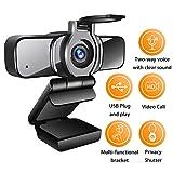 LarmTek HD Webcam 1080p mit Datenschutz Verschluss,Webcam PC-Laptop-Kamera mit...