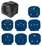 Brennenstuhl Reisestecker-Set / Reiseadapter-Set (Reise- Steckdosenadapter mit verschiedenen Aufsätzen für mehr als 150 Länder (7 x Steckereinsätze) schwarz