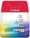 Canon BCI-6 C/M/Y Original Tintenpatronen, Multipack je 13ml cyan, magenta, gelb
