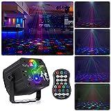 Drehbares Discokugel, RGB LED Party Licht mit Fernbedienung und USB Kabel, Sprachsteuertes...