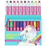 GirlZone Geschenke für Mädchen - Haarkreide-Set für kleine und große Mädchen - Auswaschbare Temporäre Haarfarben Geschenke für Kinder - 10 x Haarfärbestifte - Auswaschbare