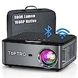 Beamer, 8000 Lumen Beamer Full HD, WiFi Bluetooth Beamer 4K Native 1080P LED Heimkino Video...