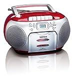 Lenco SCD-420RD Tragbares UKW-Radio mit Toplader CD-Spieler und Kassettendeck, LCD Display,...