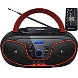 Tragbarer CD-Player   Boombox   CD/CD-R   USB   FM Radio   AUX-In   Kopfhöreranschluss   CD Player   Kinder Radio   CD-Radio   Stereoanlage   Kompaktanlage… (Cherry Kiss Red)