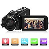 Videokamera Camcorder, ODLICNO Digitalkamera 1080P Full HD 24MP 3 Zoll TFT LCD Bildschirm 16X...