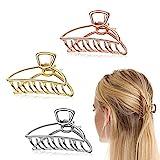 Ealicere 3 Stück Klaue Clips Groß, Elegante Sichelförmige Haargreifer Haarspangen aus metall,Krallen Clips Hohle Rutschfeste Haarnadel Für damen Mädchen Haarspange zum Fixieren des Haares
