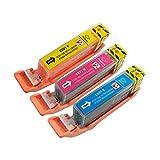 PerfectPrint Kompatibel Tinte Patrone für Canon Pixma iP-3600 4600 4700 MP-540 550 560 620 630 640 980 990 MX-860 870 CLI-521 (Cyan/Magenta/Gelb, 3-Pack)