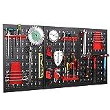 Werkzeuglochwand aus Metall mit 17 teilge Hakenset 120 x 60 x 2 cm, Werkzeugwand Lochwand für Werkstatt, Schwarz und Rot