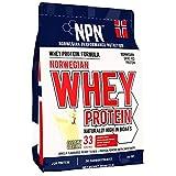 NPN Whey protein pulver | Premium Norwegisches grasgefüttertes Molkenprotein | 33 Portionen | Milcheiweißpulver Muskelaufbau mit essentiellen Aminosäuren | 908g Cremige Vanille