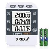 XREXS Digitaler 3 Kanäle Countdown/Stoppuhr Küchentimer, Timer für das Kochen, Stoppuhr, Großes...