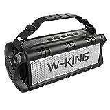 W-KING 50W(70W Piek) Bluetooth Lautsprecher Wasserdicht, 24 Stunden Laufzeit, 8000mAh Power Bank, 30 Meter Reichweite, Tragbare Bluetooth Speaker Box Lautsprecher Musikbox mit TWS/NFC (Schwarz)