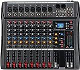 Depusheng DA8 Professionelle 8-Kanal-Stereo-Sound-Mischkonsole Bluetooth-USB-Aufnahme Computerwiedergabe Phantomspeisung USB-Digital-Audio-Mixer-Verstärker