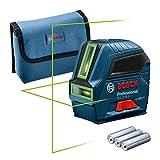 Bosch Professional Linienlaser GLL 2-10 G (grüner Laser, Arbeitsbereich: bis 10 m, 3x AA-Batterie, Tasche) – Amazon Exclusive