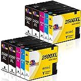 Clorisun 2500XL Druckerpatronen für Canon 2500XL Multipack für Canon Maxify iB4000 iB4050 iB4150 MB5000 MB5050 MB5100 MB5150 MB5155 MB5300 MB5350 MB5400 MB5450 MB5455 (4BK,2C,2M,2Y)