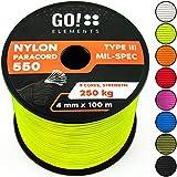 GO!elements 100m Paracord Seil aus reißfester Nylonschnur - 4mm Paracord 550 Typ III Schnur - geeignet als Allzweckseil & Reepschnur   Max. 250kg, Farbe:Neon