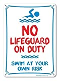 Vivityobert Metallschild Pool Schild No Lifeguard On Duty Swim at Your Own Risk Schild Rot Blau auf Weiß Metall Warnschild Gefahrenschild Neuheit Sicherheit Hinweisschild Hauswand Deko 8x12