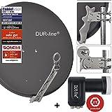 DUR-line 4 Teilnehmer Set - Qualitäts-Alu-Satelliten-Komplettanlage - Select 75cm/80cm...