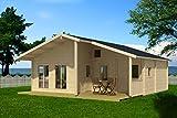Ferienhaus F5 inkl. Fußboden - 70 mm Blockbohlenhaus, Grundfläche: 49,00 m², Satteldach