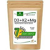 MoriVeda® 100% pflanzliche Vitamin D3 + K2 + Mg Kapseln I D3 (7000 I.E) Depot I K2 MK7 All-Trans (200µg) I Magnesium als Aktivator I 90 Wochen Vorrat I Vegan I 90 Kapseln