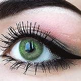 """Sehr stark deckende und natürliche grüne Kontaktlinsen SILIKON COMFORT NEUHEIT farbig """"Jasmine Green"""" + Behälter von GLAMLENS - 1 Paar (2 Stück) - DIA 14.00 - ohne Stärke 0.00 Dioptrien"""