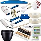 Colorus Profi Tapezier Set 18-teilig   Tapezierwerkzeug Set für Vliestapete Renovierungsset   Cuttermesser Andrückroller Tapezierbürste Deckenbürste Kleisterwalze   Malerwerkzeug Malerbedarf