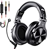 OneOdio Kopfhörer mit Mikrofon Headset mit Kabel Wired PC Headphone mit Boom Mic für Handy und PC HiFi Studio Over Ear DJ Kopfhörer Adapter-frei mit 6,35mm & 3,5mm Buchse