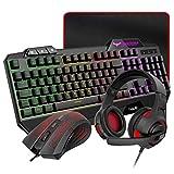 HAVIT Gaming Tastatur {DE Layout} & Maus & Headset & Mauspad Combo Set 4 in 1 für PC / Computer /...