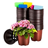 CNNIK 100 Stück Plastik Pflanztopf 10cm Rundtöpfe Pflanztöpfe Anzuchttöpfe Saattöpfe Blumentöpfe Töpfe, 100 Stück Pflanzenetiketten