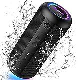 KATMAI E8-L Bluetooth-Lautsprecher tragbar, Bluetooth 5.0,Bassverstärkung, Verlaufslicht, IP65 wasserdicht,360° Stereo Dual Paired Home- und Outdoor-Bluetooth-Lautsprecher,Schwarz