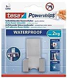 tesa Powerstrips Waterproof Rasiererhalter Zoom, Metall - Selbstklebender Rasiererhalter aus Edelstahl für Dusche und Bad