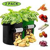 Sinicyder 2 Pack Pflanzen Tasche, Kartoffel Pflanzsack Tasche, Dauerhaft Atmungsaktiv Beutel Gemüse wachsen Pflanztasche mit Fenster/Klettverschluss/Tragegriffen, 38L/10Ga, (Grün & Schwarz)