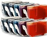 10x Druckerpatronen-Set Mit CHIP für Canon Pixma IP 4300 (je Farbe 2 Patronen) - mit Chip kompatibel für IP4300, 2x26ml, 8x13ml