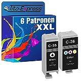 Tito-Express PlatinumSerie 6X Patronen-Set XXL passend zu Canon PGI-35 CLI-36 | Für Canon Pixma IP 100V 110 + Battery 100 Portable 110 Series TR 150
