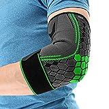 COLOMAX Hochwertige Ellenbogenbandage Ellenbogenstütze Sport Bandage Fitness (Grün, L)