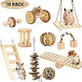 Renquen 10 Stück Holz Hamster Übungsroller Wippsäge Zähne Kauspielzeug Hamster Spielzeug für Chinchilla Hamster Papageien Hase