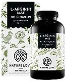 NATURE LOVE® L-Arginin Base mit Citrullin - Premium: pflanzliches Arginin in BASE Form mit 99,7+% Reinheit - 365 laborgeprüfte Kapseln - Hochdosiert, vegan, hergestellt in Deutschland