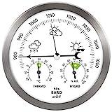 Wetterstation analog aus Edelstahl mit Barometer, Thermometer und Hygrometer für innen und außen