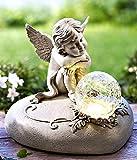 Unbekannt Solar Engel Gabriel aus Kunststein und Glaskugel LED Leuchte und Solarpanel NEU