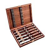 EZARC 6pc Stechbeitel Set für Holz, CrV-Stahl + Rotbuche Griffe + Holzkiste (6mm, 10mm, 12mm, 16mm, 20mm, 25mm)