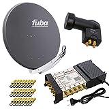 PremiumX Satelliten-Komplettanlage Fuba DAA 850 A Satellitenschüssel Alu Anthrazit 5/8...