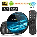 TICTID Android TV Box 10.0 mit Minitastatur 【4G+128G】 Smart TV Box mit Quad-Core RK3318 T8 Max unterstützt WiFi 2.4G/5G/ 4K/ 100M LAN Android TV Box Media Player