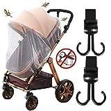 Universal Insektenschutz und Kinderwagen Haken, Mückennetz für Kinderwagen, Buggy, Reisebett, Idealer Schutz vor Wespen & Stechmücken