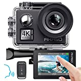AKASO Action cam 4K/60fps /Action Kamera 20MP WiFi mit Touchscreen EIS 40M unterwasserkamera V50 Elite mit 8X Zoom Sprachsteuerung Fernbedienung Zubehör Kit Sportkamera