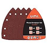 Amazon Brand - Umi Schleifblätter 100-teilig,11 Löcher Schleifpapier für Schleifmaschine, Körnung 40, 80, 120, 180