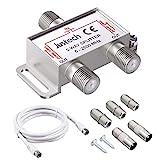 2-Fach TV Radio F-Stecker Adapter Kabel Antennen Verteiler SAT Splitter Metall TV-Verteiler inkl....