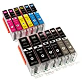 ESMOnline 12 komp. XL Druckerpatronen als Ersatz für Canon Pixma MG5450 MG5550 MG5650 MG5655 MG6350 MG6450 MG6650 MG7100 MG7150 MG7550 MX725 MX925 iP7200 iP7250 iP8750 iX6850