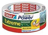 tesa extra Power Extreme Outdoor - Gewebeverstärktes Folienband für den Außenbereich, extrem hohe Klebekraft - Transparent - 20 m x 48 mm